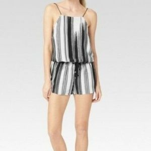 Paige Black White Brushstroke Silk Claudia Romper